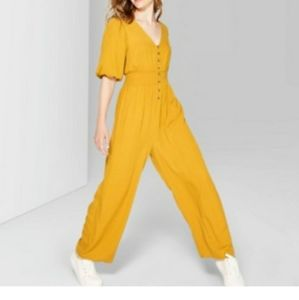 Wild Fable Gold Short Sleeve Button Up Jumpsuit